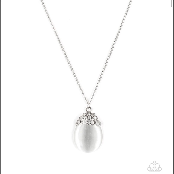 Long necklace with large moonstone pendant